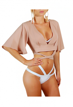 crop top wide sleebes beige